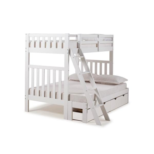 Alaterre Furniture Aurora White Twin Over Full Bunk Bed with Storage