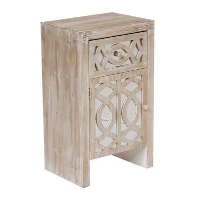 Shelly Assembled 18x18x13 in. Raised Accent Storage Cabinet with Mirrored Glass Door and Drawer in White Washed Wood