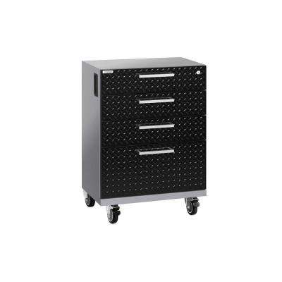 Performance 2.0 Diamond Plate 33 in. H x 20.75 in. W x 16 in. D Steel Mobile Tool Drawer Cabinet in Black