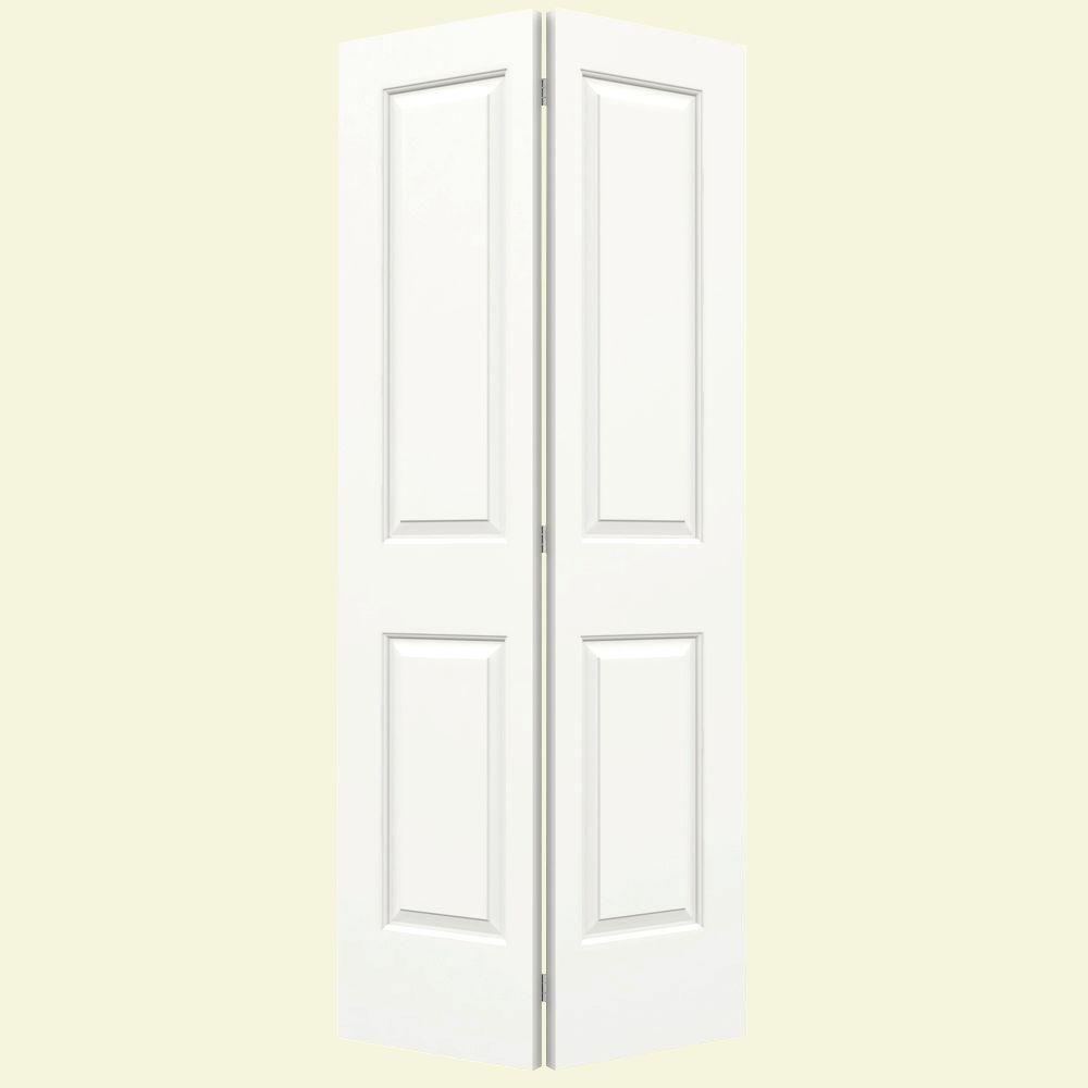 JELD-WEN 36 in. x 80 in. Cambridge White Painted Smooth Molded Composite MDF Closet Bi-Fold Door -  I06347
