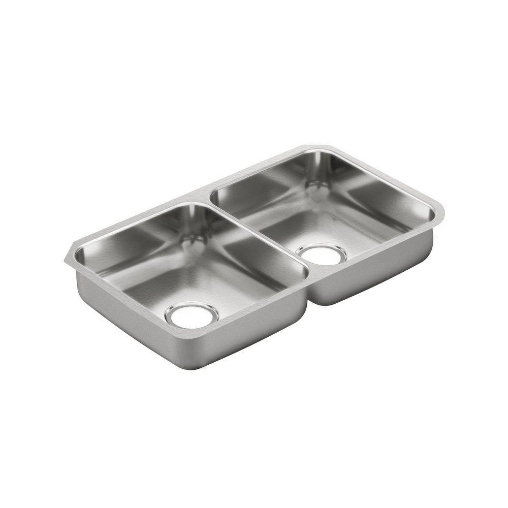 MOEN 2000 Series Undermount Stainless Steel 32 in. Double Bowl Kitchen Sink