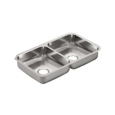 2000 Series Undermount Stainless Steel 32 in. Double Bowl Kitchen Sink