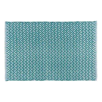 Diamond Teal 24 in. x 36 in. Woven Kitchen Mat