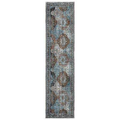Gala Bright Blue 2 ft. 3 in. x 8 ft. 9 in. Tabriz Runner Rug