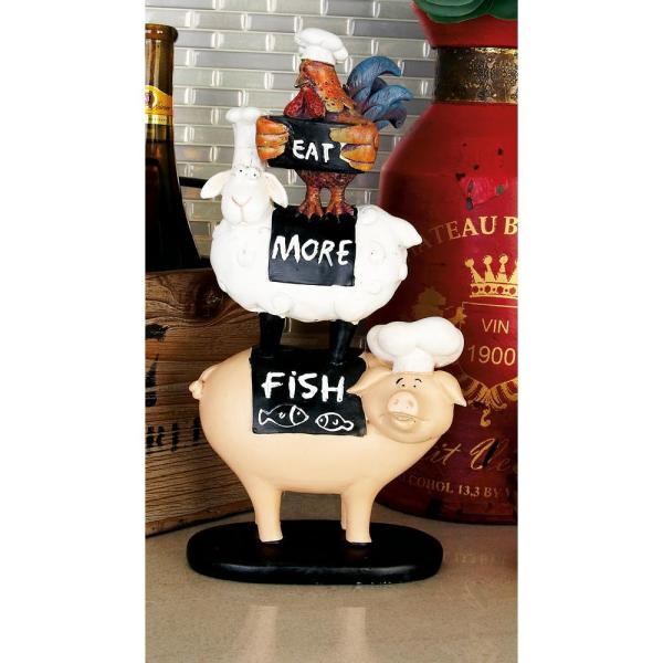 "LITTON LANE - 12 in. Polystone ""Eat More Fish"" Stacked Animal Sculpture Decor"