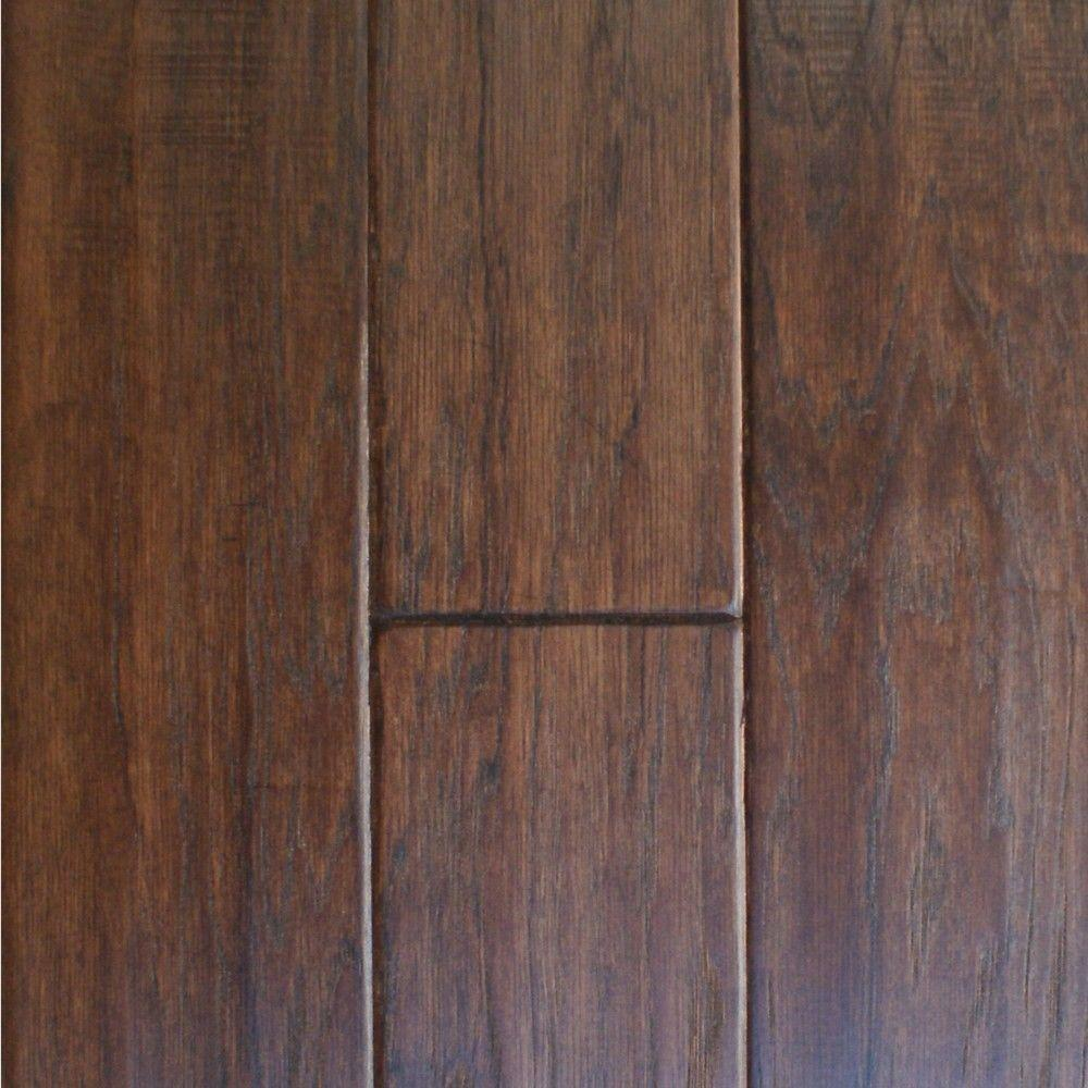 Millstead Take Home Sample - Hand Scraped Hickory Cocoa Solid Hardwood Flooring - 5 in. x 7 in.