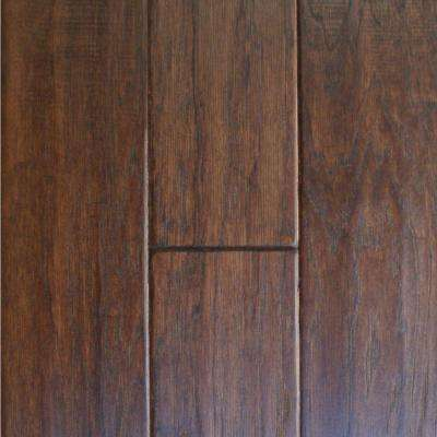 Take Home Sample - Hand Scraped Hickory Cocoa Solid Hardwood Flooring - 5 in. x 7 in.