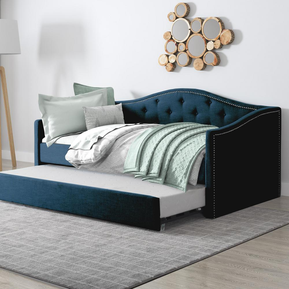 Corliving Fairfield Navy Blue Tufted Leatherette Twin Single Day Bed With Trundle
