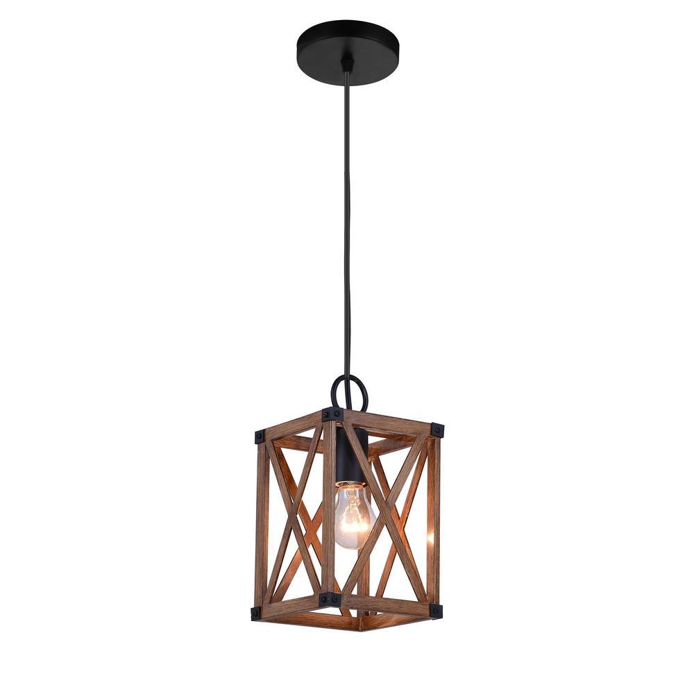Cwi Lighting Marini 1 Light Wood Grain Brown Chandelier