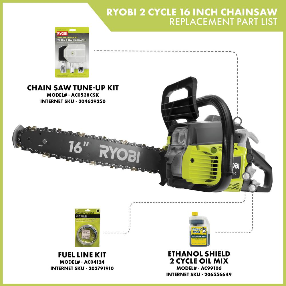 Ryobi 16 In 37cc 2 Cycle Gas Chainsaw With Heavy Duty Case Ry3716 The Home Depot