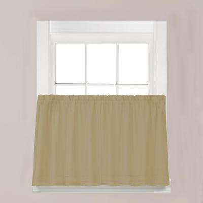 Holden Khaki Polyester Rod Pocket Tier Curtain - 57 in. W x 30 in. L