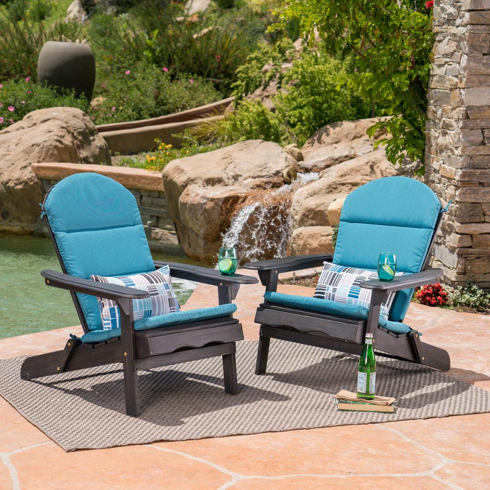 Merveilleux Malibu Dark Gray Folding Wood Adirondack Chairs With Dark Teal Cushions  (2 Pack)