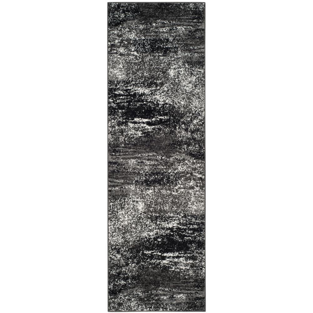 Adirondack Silver/Black 3 ft. x 16 ft. Runner Rug