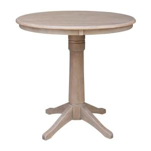 Olivia 36 in. H x 36 in. Round Weathered Taupe Gray Pedestal Table