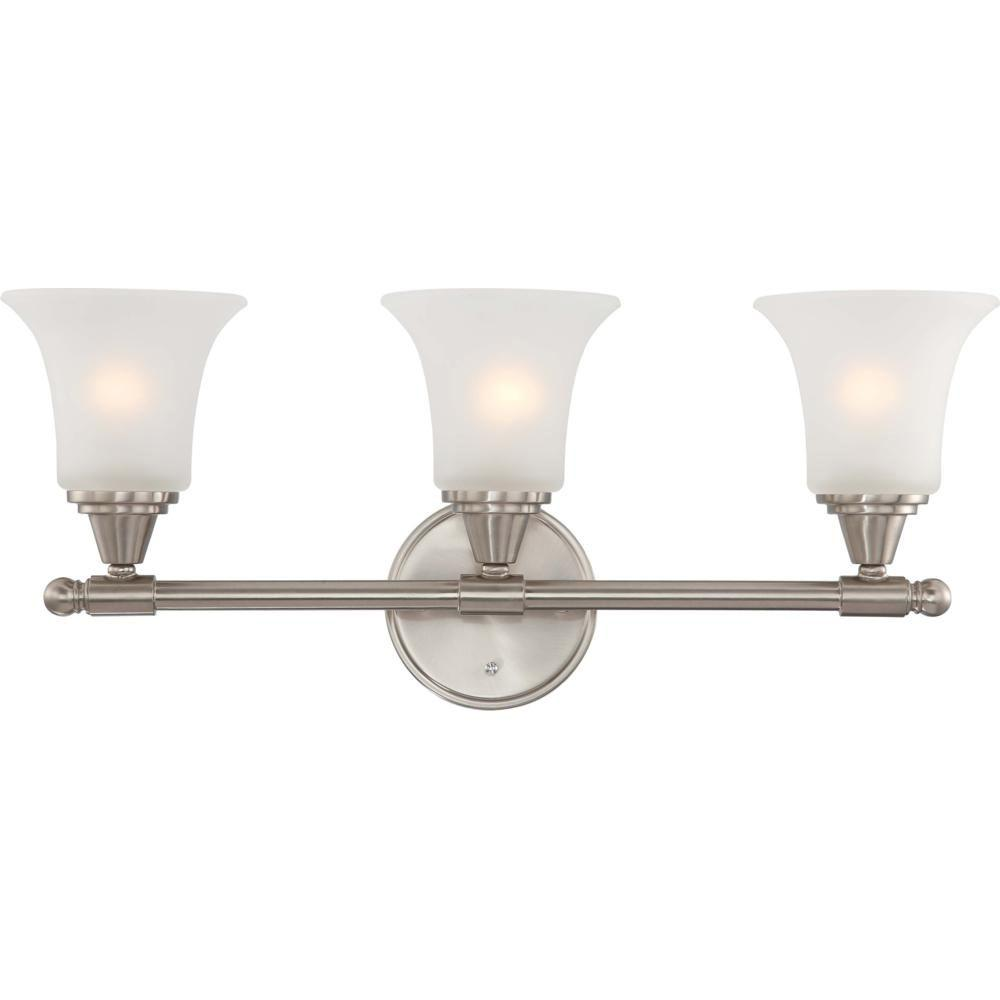 Glomar 3 light brushed nickel vanity fixture with frosted for Brushed nickel bathroom lighting fixtures