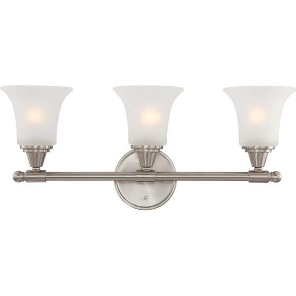 3-Light Brushed Nickel Vanity Fixture with Frosted Glass