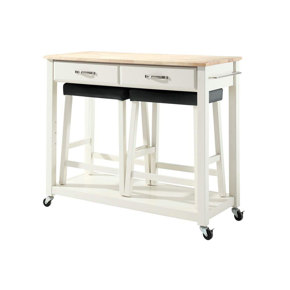 Crosley 42 in. Natural Wood Top Kitchen Island Cart with Two 24 in. Upholstered Saddle Stools in White