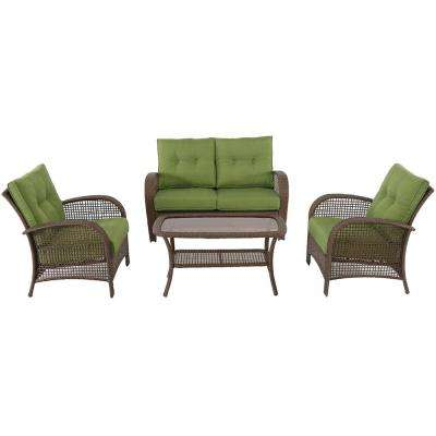 Kokomo 4 Piece Wicker Patio Seating Set With Green Cushions