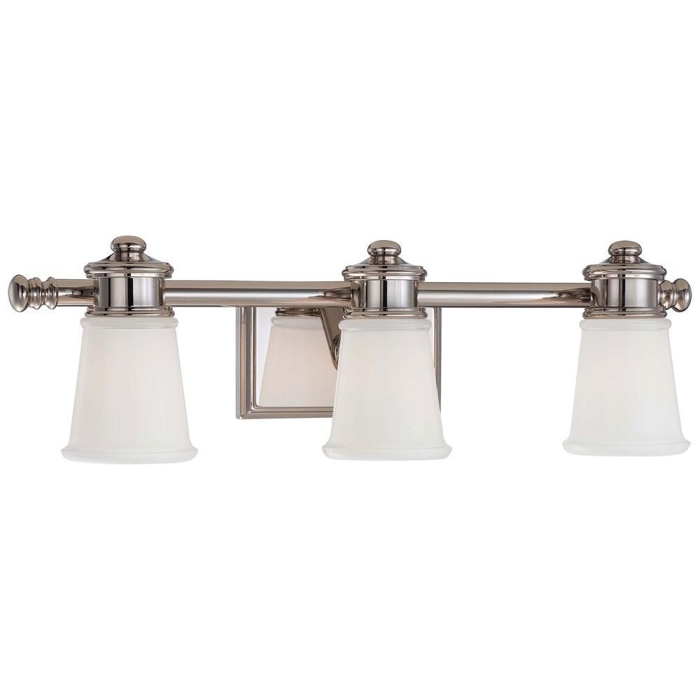 3-Light Polished Nickel Bath and Vanity Light