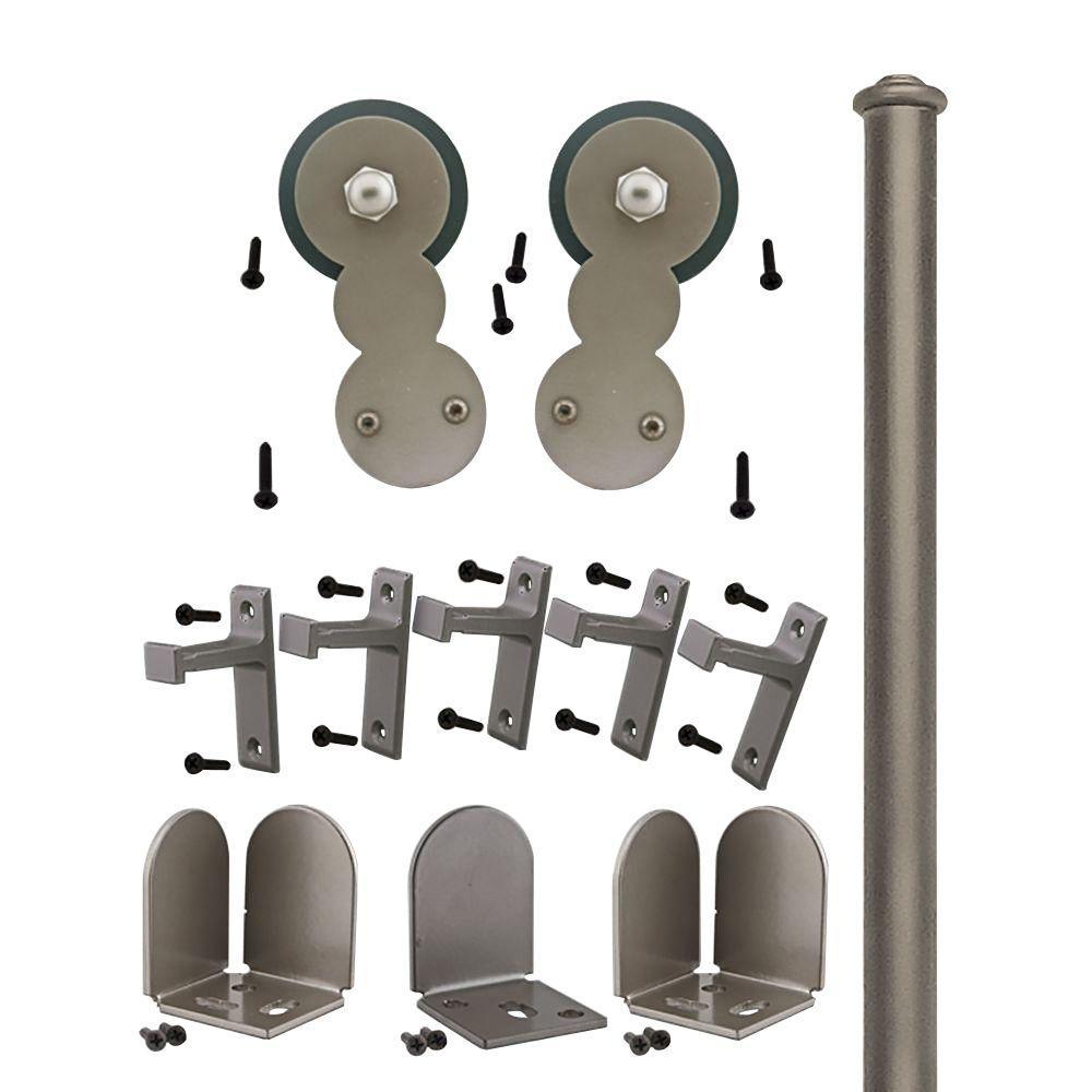 Quiet Glide 1-1/2 in. - 2-1/4 in. Circles Satin Nickel Rolling Door Hardware Kit