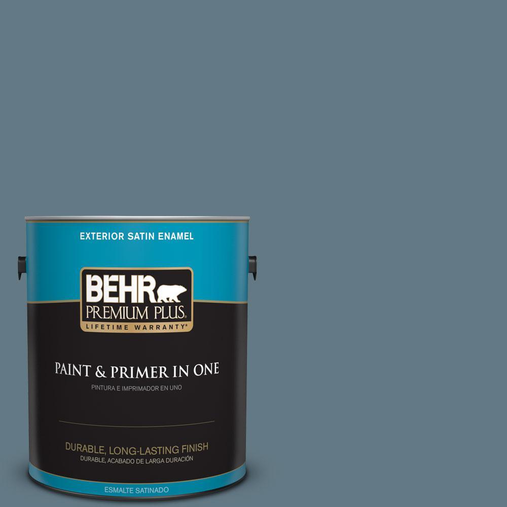BEHR Premium Plus 1-gal. #540F-5 Smokey Blue Satin Enamel Exterior Paint
