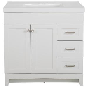 Thornbriar 37 in. W x 22 in. D x 37 in. H Bathroom Vanity in White with Cultured Marble Vanity Top in White