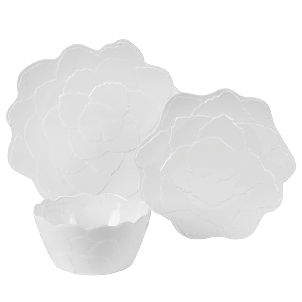 Botanical Galax Leaf 9-Piece Traditional Porcelain White Melamine Outdoor Dinnerware Set (Service for 9)