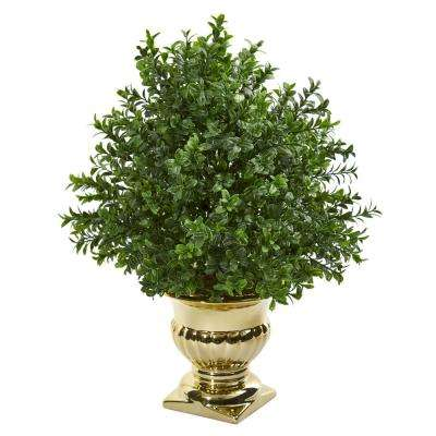 Indoor Sweet Grass Artificial Plant in Gold Urn