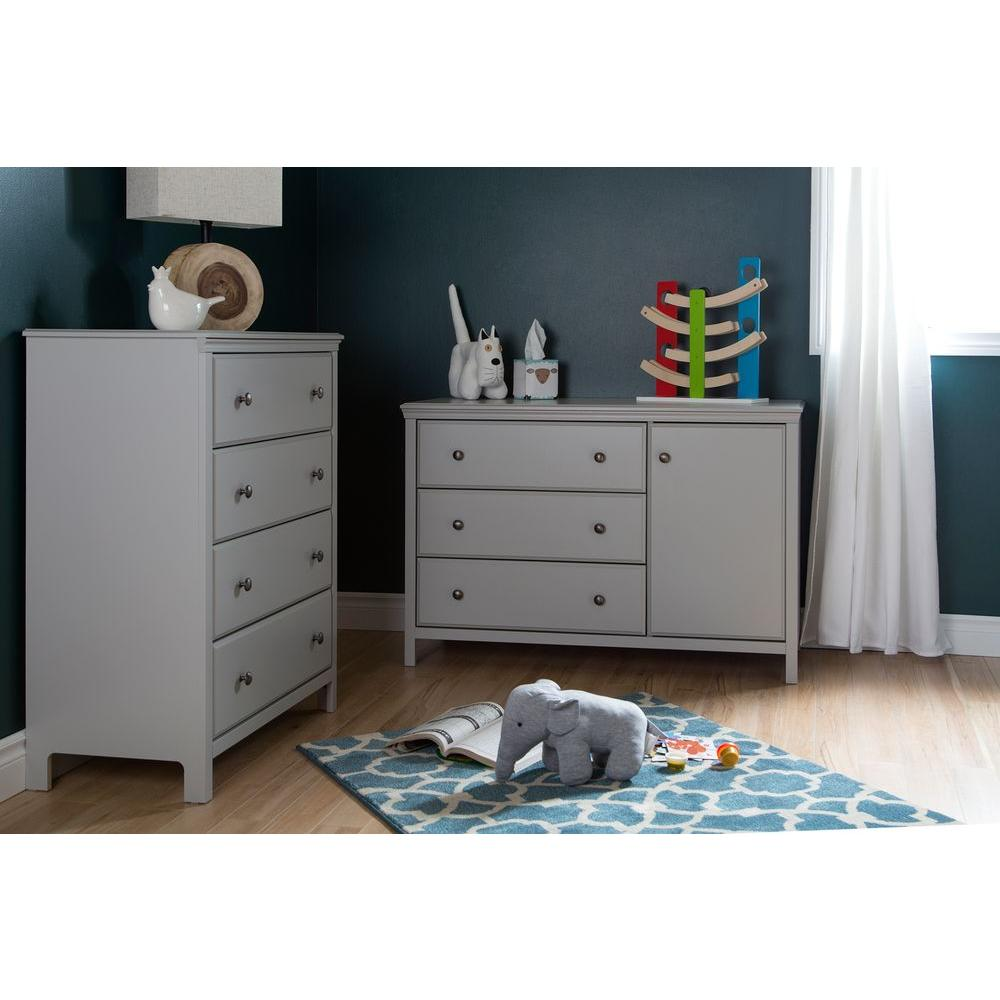 South Shore Cotton Candy 3 Drawer Soft Gray Changing Table