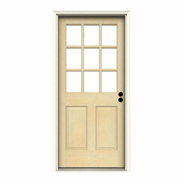 32 in. x 80 in. 9 Lite Unfinished Wood Prehung Left-Hand Inswing Back Door w/Primed Rot Resistant Jamb and Brickmould
