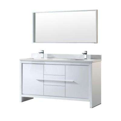 Allier 60 in. Double Vanity in White with Glass Stone Vanity Top in White and Mirror