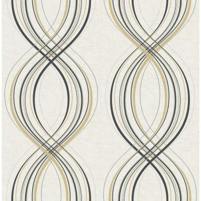 Jeannie Weave Metallic Gold and Ebony Wallpaper