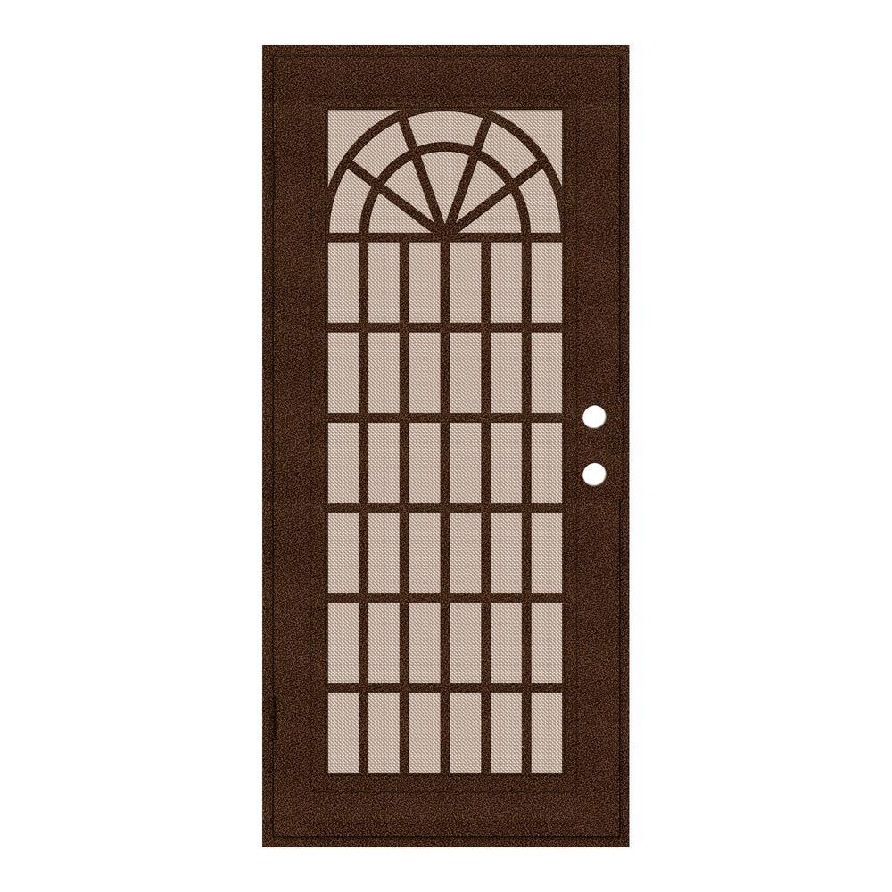 32 in. x 80 in. Trellis Copperclad Left-Hand Surface Mount Security Door with Desert Sand Perforated Metal Screen
