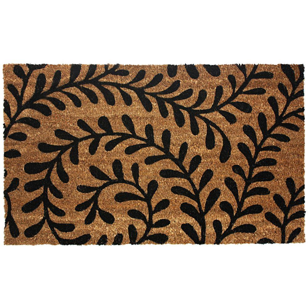 J & M Home Fashions Black Ferns 18 in. x 30 in. Vinyl Back Coco Door Mat