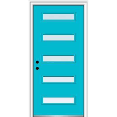 36 in. x 80 in. Davina Low-E Glass Right-Hand Inswing 5-Lite Clear Modern Painted Fiberglass Smooth Prehung Front Door
