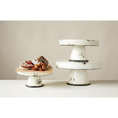 Distressed White Metal Cake Stand