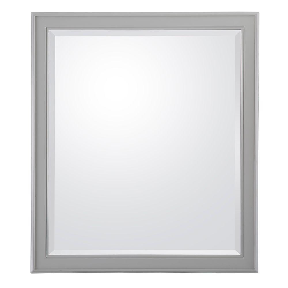 Gazette 28 in. W x 32 in. L Wall Hung Mirror in Grey
