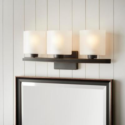 Ettrick 3-Light Oil-Rubbed Bronze Sconce with Hand Pained Glass Shades