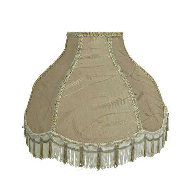 17 in. x 12 in. Off White and Fringe Scallop Bell Lamp Shade