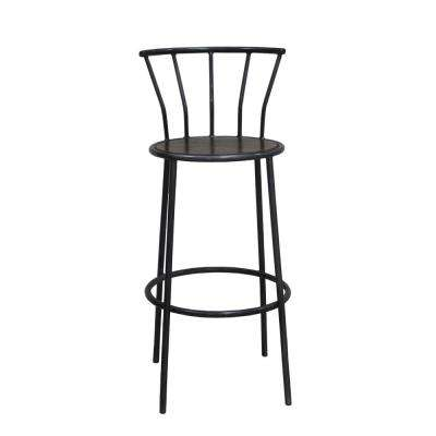 Iron Bar Stool with Backrest in Gray Metal And Natural Wood Finish
