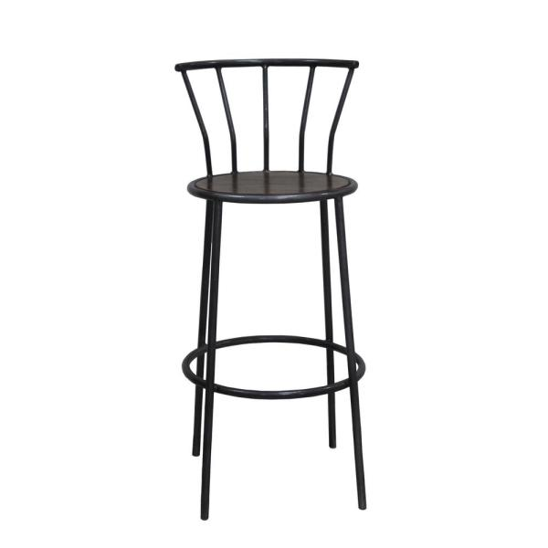 Y Decor Iron Bar Stool with Backrest in Gray Metal And Natural Wood Finish