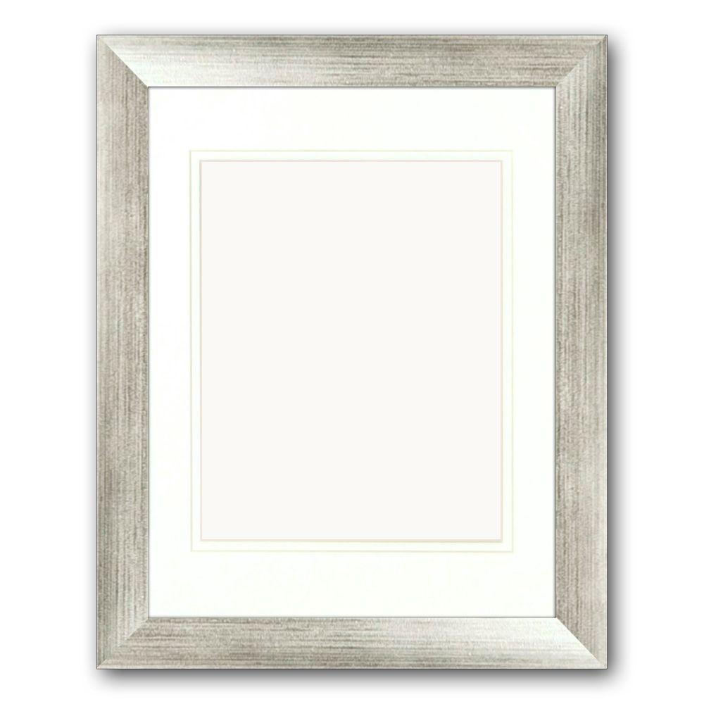 1-Opening. 8 in x 10 in. Matted Silver Portrait Frame (Set of 2)