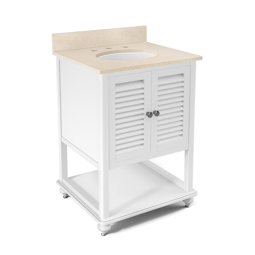 Alaterre Furniture Tahiti 25 in. W x 22 in. D Vanity in White with Marble Vanity Top in Beige with White Basin