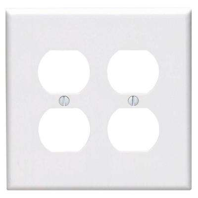 2-Gang Midway Duplex Outlet Nylon Wall Plate, White