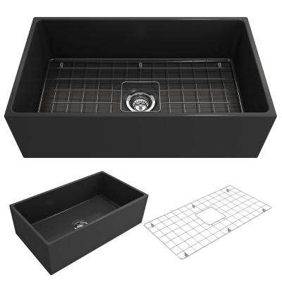 Contempo Farmhouse Apron Front Fireclay 33 in. Single Bowl Kitchen Sink with Bottom Grid and Strainer in Matte Dark Gray