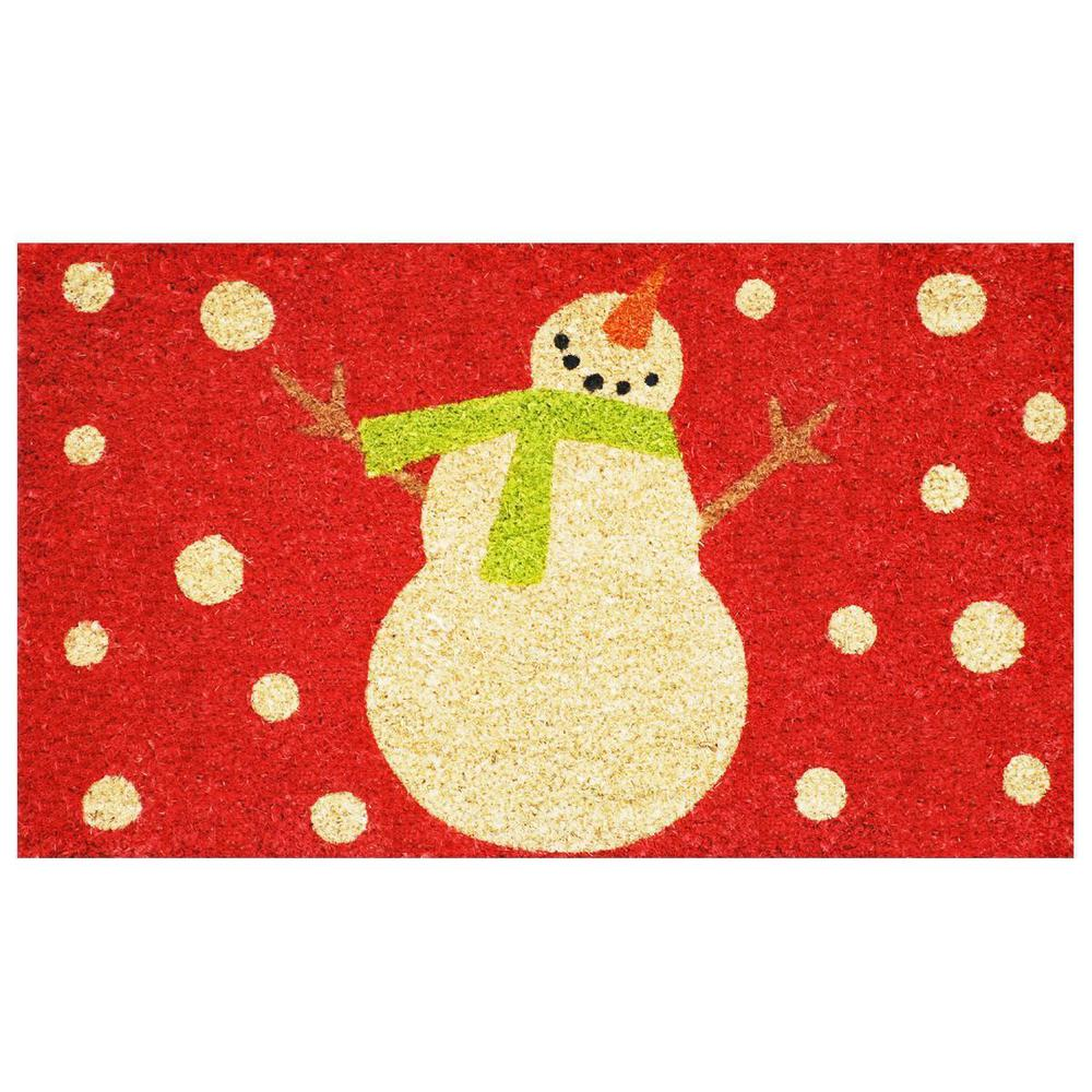 Holiday Snowman 17 in. x 29 in. Coir Door Mat