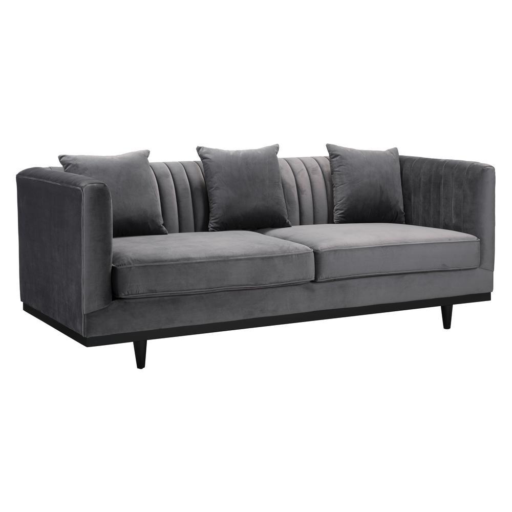 ZUO Garland Gray Velvet Sofa 101044 - The Home Depot