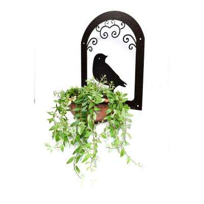 Dove Design Lawn Art 19.7 in. H x 15.7 in. W x 11.5 in. D with 1- 1/4 in. Opening Black Metal 3D Hanging Planter