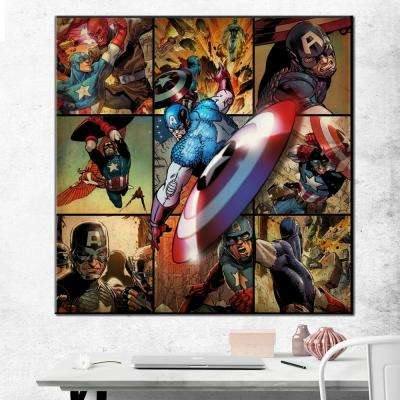 """33 in. x 33 in. """"Captain America - Montage"""" Printed Canvas Wall Art"""