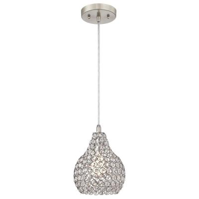 Kelcie 1-Light Brushed Nickel Mini Pendant with Crystal Jewel Shade
